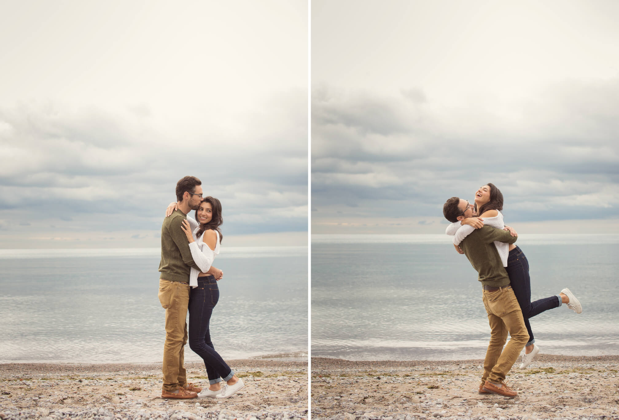 couple engagement photos on waterfront ajax