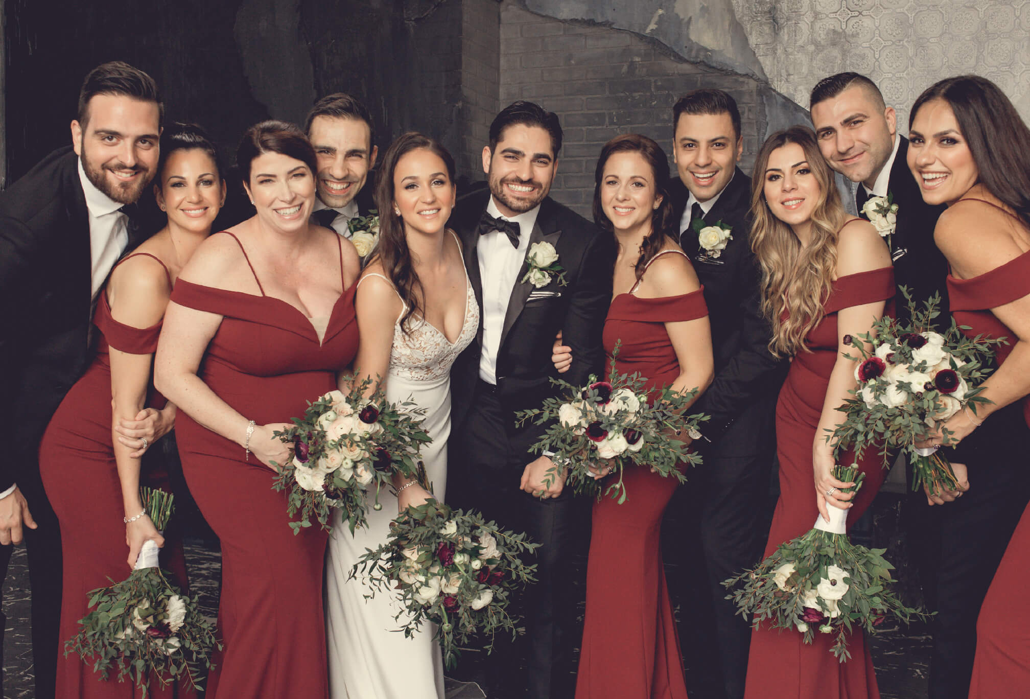 bridal party red dresses