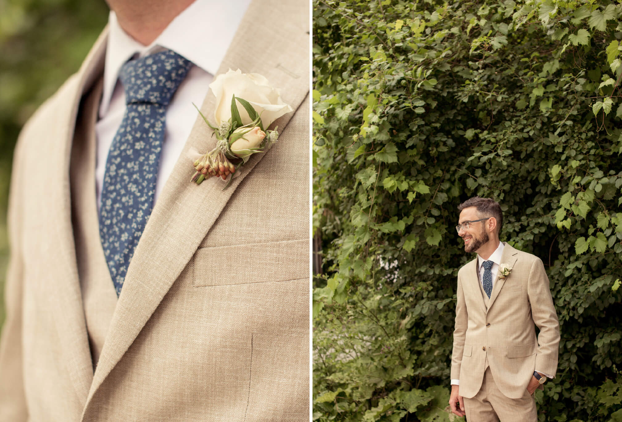 groom in beige suit