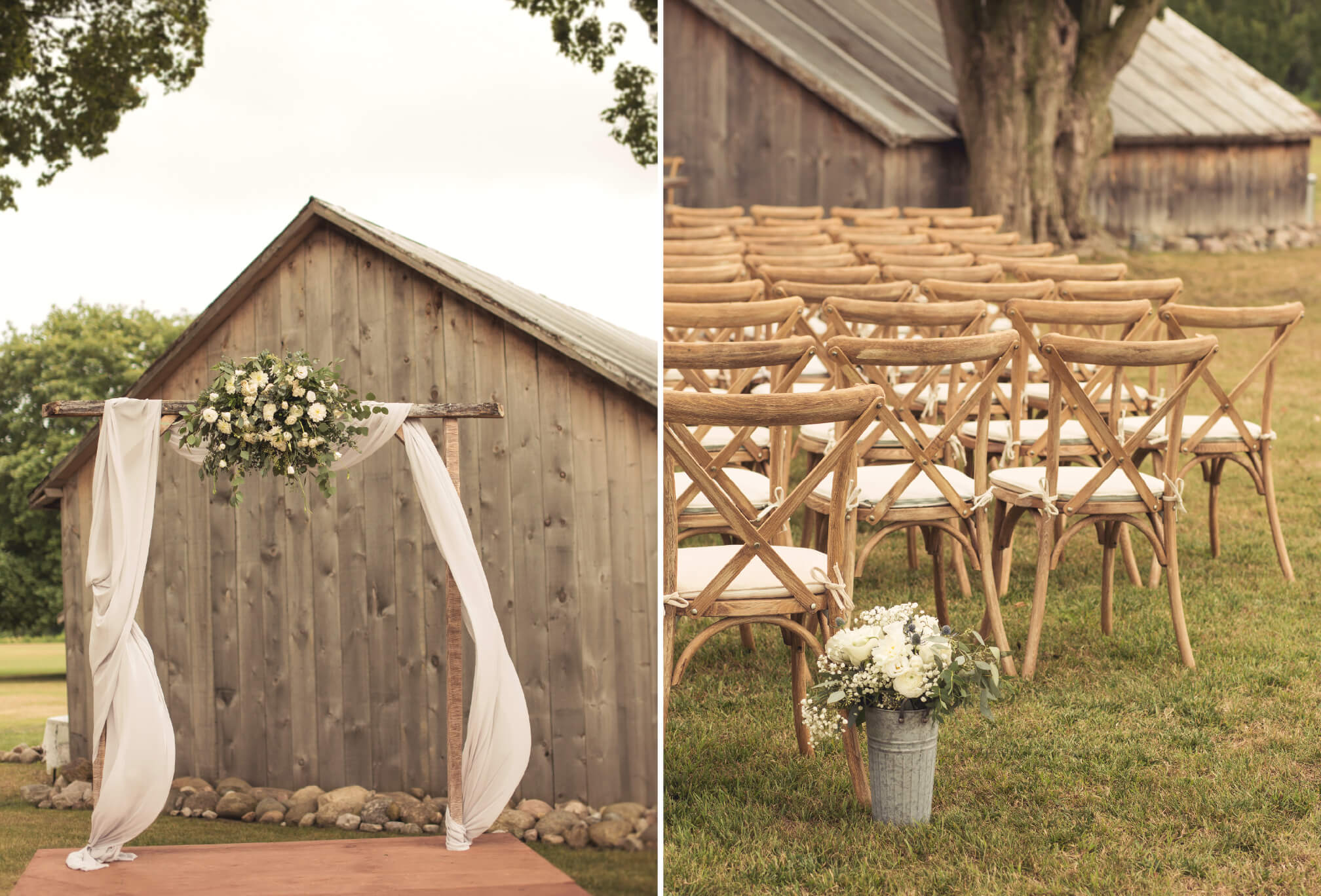 barn in bradford ceremony decor