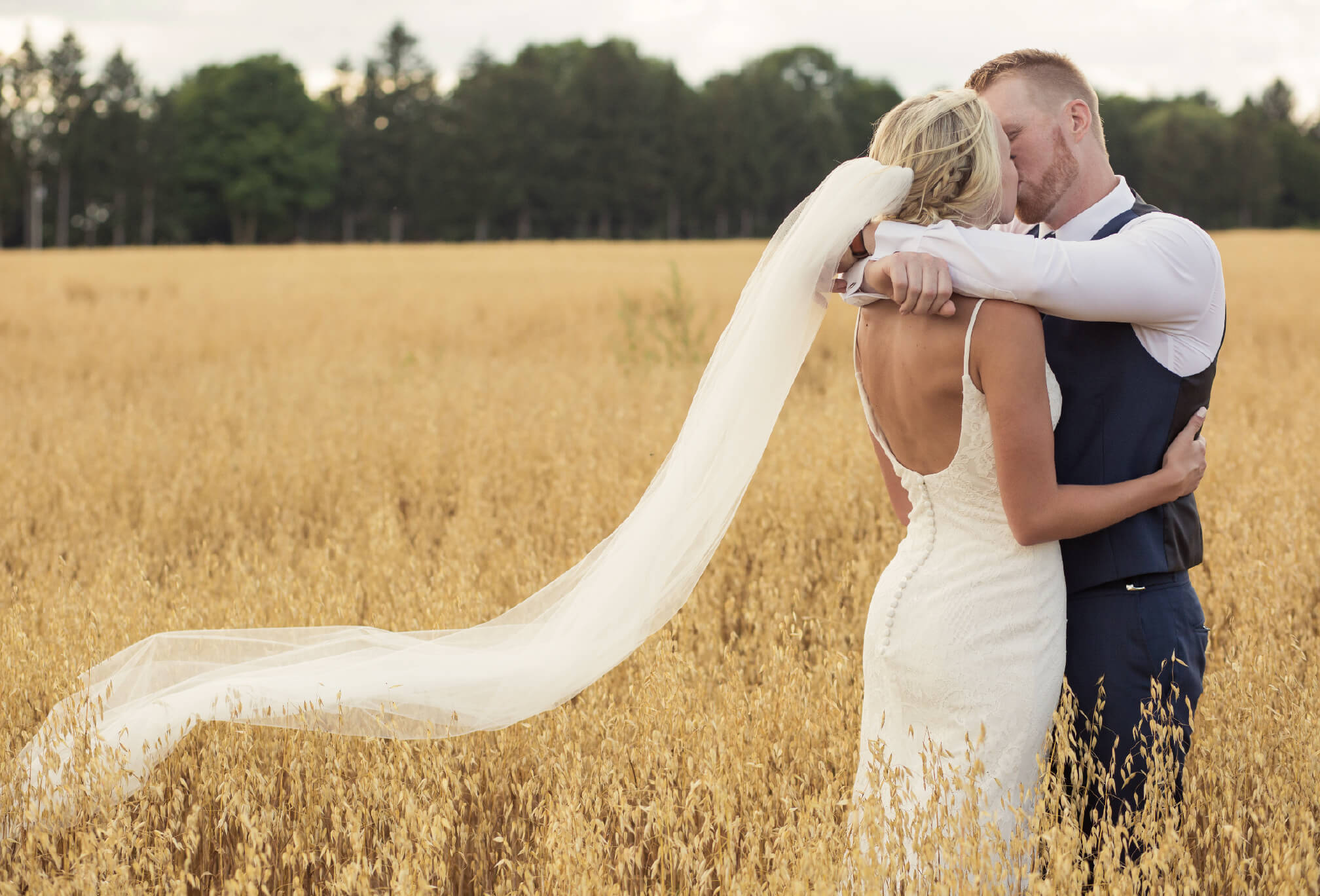 wheat field bride and groom