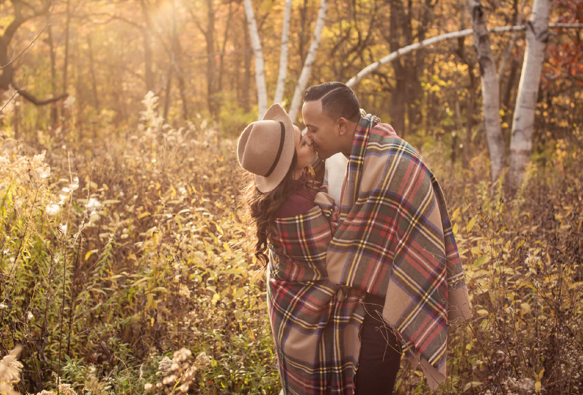 sunset in autumn engagement session